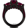 Ruby And Black Gold Ring - Rings -