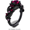 Ruby, Pink Sapphire And Black Gold Ring - Pierścionki -