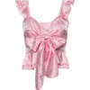 Ruffled bow V-neck shirt - T-shirts - $27.99