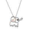 S925 Silver Cute Baby Elephant Crystal Pendant Necklace - Necklaces -