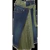SACAI Paneled denim and shell midi skirt - Skirts - 733.00€  ~ $853.43