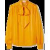 SAINT LAURENT Pussy-bow silk-jacquard bl - Long sleeves shirts - $2,290.00