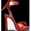 SAINT-LAURENT red metallic sandal - Sandals -