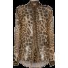 SAINT LAURENT tie-neck leopard-print blo - Košulje - duge -