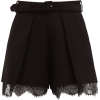 SELF-PORTRAIT  Lace-trimmed pleated high - Shorts -