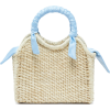 SENSI STUDIO  Mini silk-trimmed straw ba - Hand bag -