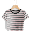 SHEIN Contrast Tape Striped Print Ribbed - T-shirts -