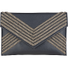 SONNET Navy Blue Embroidered Envelope Cl - Clutch bags - $65.00
