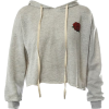 Sans Souci Grey rose cropped hoodie - Pullovers -