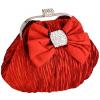 Satin Bow Pleated Rhinestones Brooch & Clasp Frame Baguette Clutch Evening Bag Handbag Purse w/2 Hidden Chains Red - Clutch bags - $42.50