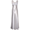 Satin Chiffon Prom Dress Holiday Formal Gown Crystals Full Length Junior Plus Size Silver - Dresses - $69.99