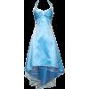 Satin Halter Dress Tulle Mini Train Prom Bridesmaid Holiday Formal Gown Junior Plus Size Aqua - Dresses - $69.99  ~ £53.19