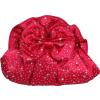 Satin Rhinestone Clutch Bag Evening Purse With Bow Fuchsia - Clutch bags - $34.99