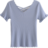 Saw-tooth V-neck Basic Knitwear - T-shirts - $25.99