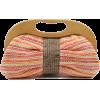 Scarleton Wood Framed Straw Clutch H3004 Pink - Clutch bags - $19.99