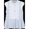 Sea floral lace striped blouse - Camicia senza maniche -