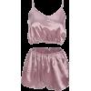 Set satin loose solid color ladies pajam - Pajamas - $19.99