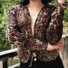 Sexy Deep V-neck Leopard Print Chiffon L - Shirts - $25.99