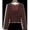 Sexy Printed Square Collar Long Sleeve E - Shirts - $25.99