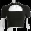 Sexy hollow choker collar exposed navel - Shirts - $19.99