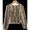 Sexy snake print square collar long slee - Shirts - $25.99