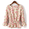 Shein Beige Floral Ruffle Blouse - Shirts - $25.90