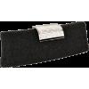 Shimmering Rhinestone Clasp Long Hard Case Box Clutch Evening Bag Baguette Purse Minaudiere w/2 Shoulder Chain Straps Black - Clutch bags - $25.50