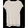 Short Ruffle Sleeve Stripe Ribbed T-Shir - Majice - kratke -