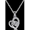 Silver heart Pendant necklace  zirconia - Ogrlice -