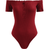 Snap Button Off Shoulder Bodysuit - Red  - Kombinezony - $15.49  ~ 13.30€