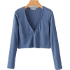 Solid color knit V-neck long sleeve bott - Koszulki - krótkie - $25.99  ~ 22.32€