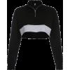Solid color zipper high collar umbilical - Shirts - $25.99