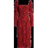 Spatter Print Square Neck Long Sleeve Mi - Dresses -