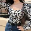 Square Collar Zebra Retro Long Sleeve Sh - My look - $35.99