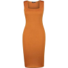 Square Neck Rust Color Dress - Dresses -