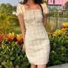 Square collar waist plaid skirt halter d - My look - $27.99