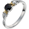 Sterling & 9ct Gold Black Sapphire Ring - Anelli -