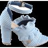 Strap Ruffles Striped Block Heel Sandals - Sandalen - $44.99  ~ 38.64€