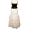 Strapless Prom Dress Tiered Mesh Long Gown With Jeweled Lace Ivory - Dresses - $149.99