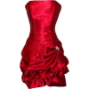 Strapless Satin Bubble Dress Prom Formal Holiday Party Cocktail Gown Bridesmaid Red - Dresses - $62.99
