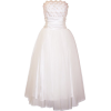 Strapless Tulle Prom Dress Holiday Formal Ball Gown Gold Embroidery Ivory - Wedding dresses - $89.99