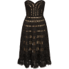 Strapless Windowpane Lace Dress by Oscar - sukienki -