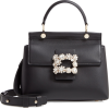 Strass Flower Buckle Calfskin Top Handle - Hand bag -