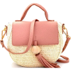 Straw Bag with Pink Vegan Leather - Hand bag - $34.00