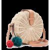 Straw bag - pom poms - Hand bag -