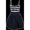 Striped Top Navy Dress - Dresses -