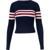 Striped Turtleneck Long Sleeve Top Knit - Pullovers - $35.99