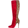 Suede Red-Animal Print Boot - Čizme -