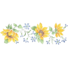 Sunflowers & Blue Floral Border Stencil - 插图 -