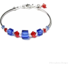 Swarovski Red and Blue Bracelet - Earrings -
